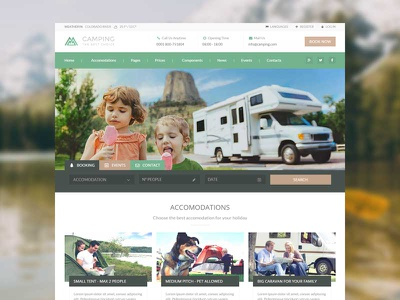 Camping Village tent travel campsite caravan campground camping envato themeforest