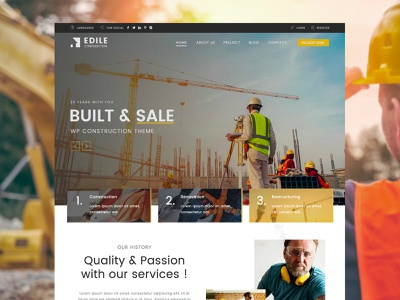 Construction WordPress Theme wordpress theme envato nicdarkthemes nicdark themeforest wordpress restructuring renovation renovate manufacture handyman engineering constructor construction company construction building company building architecture architect