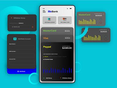 finace apps UI Flat dark paypal flat bkash bank finance money app credit card payment credit card digital wallet design minimal ux ui adobe xd