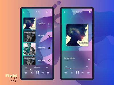 Fluid UI Music Player fluid fluid art gradient trends 2021 trendy 2021 elegent 3d minimal player ui music app mobile app mobile ui ux ui adobe xd