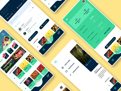 Farmfood | Apps UI Design product page dashboard app dashboard ui shopping app farmers market farming food minimal illustration ui ux figma adobe xd