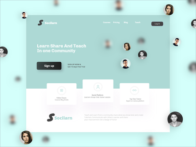 Header Section of Online Learning Site landing page digital product design sketch slider ui hero section web design adobe xd