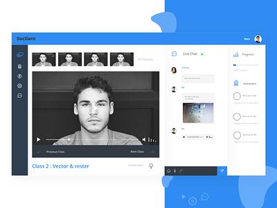 Online education Dashboard  Classroom video ui chatroom classroom dashboard adobe xd web design digital product design