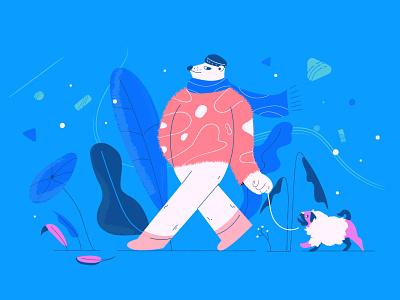 Winter digital illustration vector dogs drawing bear illustration illustrator design nature dog