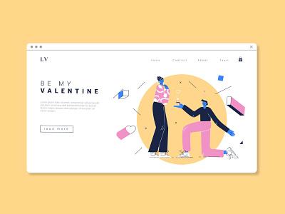 Valentine landing illustrator woman flat abstract minimal vector illustration design character landing valentines day valentine