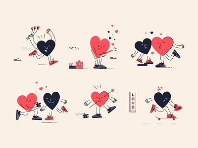 Valentine love illustration vector flat minimal illustrator character valentine heart