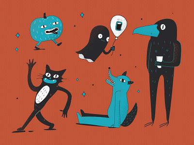 Halloween horror vector design flat illustrator minimal character illustration spoon halloween