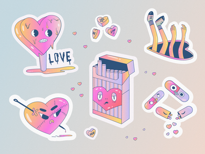 Anti Valentine illustrator flat vector illustration funny cartoon heart stickers sticker