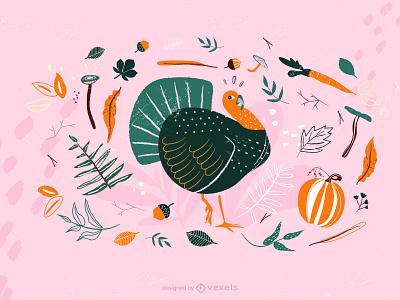 Thanksgiving collection set charactersholidays set holiday collection autumn seasonal holidays characters sesonals animal turkeythanksgiving thanksgivingvector turkey illustrator design vector illustration