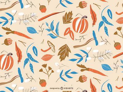 Autumn pattern flat illustrator vector illustration patterns holidays editable pattern design turkey pumpkin autumn holiday seasonal thanksgiving pattern