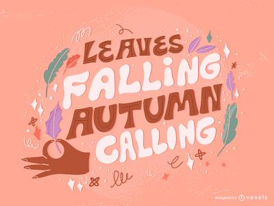 Autumn Lettering flat illustrator design vector illustration lquotes  lettering seasonalquotes holidays nature leaf pumpkin leaves seasons quote fall lettering autumn