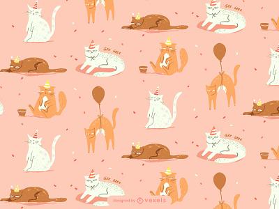 Pattern cat party pattern fest hand drawn illustrator design vector illustration grumpycatscollection cats grumpy cat patterncat
