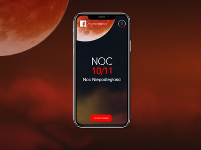 Noc Niepodległości independence day independence website landing page iphone moon night mobile