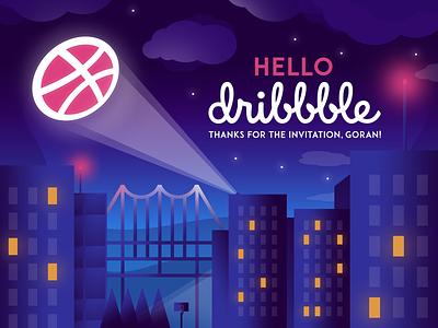 Hello, Dribbble! invitation hello debutshot vector art illustration first shot hello dribbble