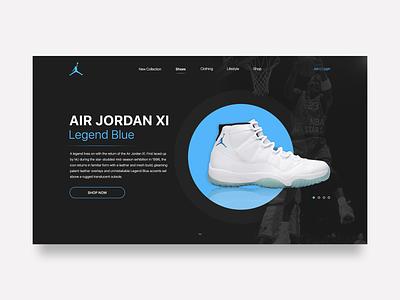 Air Jordan XI e commerce shop web  design inspiration daily ui web design sneakers michael jordan nike air jordan