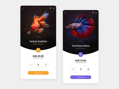 Aquarium Fish Store mobile app design colorful app dailyui store app screens ui design fish