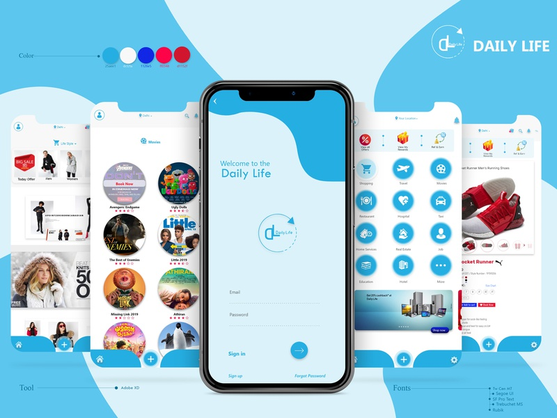 Daily life Application concept illustration concept design ux designer ux design ui desinger ui design ux ui application design application ui mobile application design mobile app design