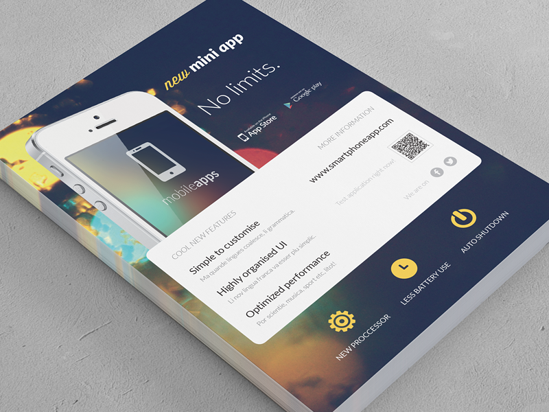 mobile application phone app flyer 2 by rounded hexagon