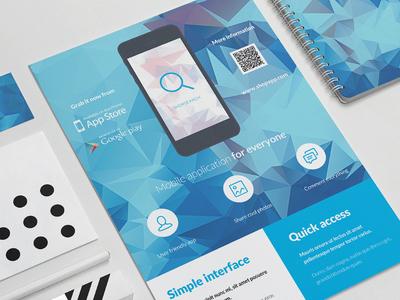 Sneak peek of upcoming flyer #5 mobile app flyer smartphone phone flat icon ad indesign print iphone minimal