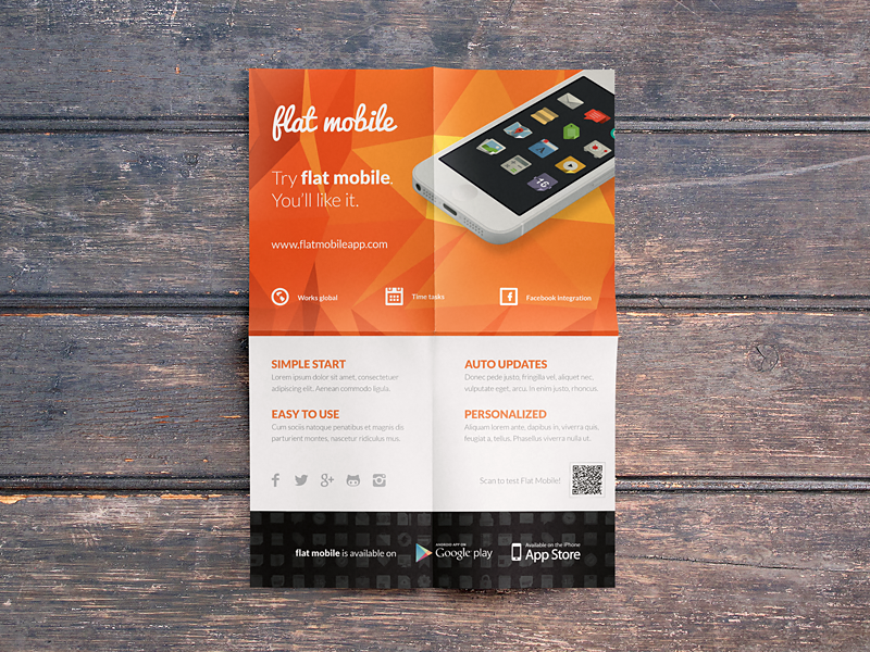 flat minimal mobile application promotion flyers indesign templates