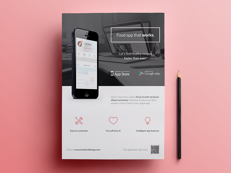 mobile application phone app flyer 4 by rounded hexagon
