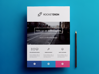 Business / Corporate Modern Flyer Template mobile app flyer smartphone phone flat icon ad indesign print iphone minimal