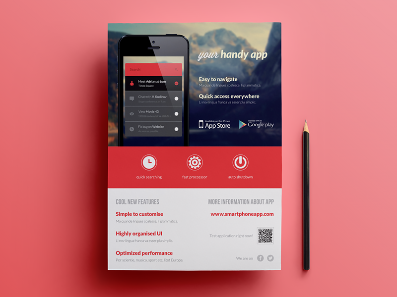 Mobile Application Phone App Flyer By Rounded Hexagon