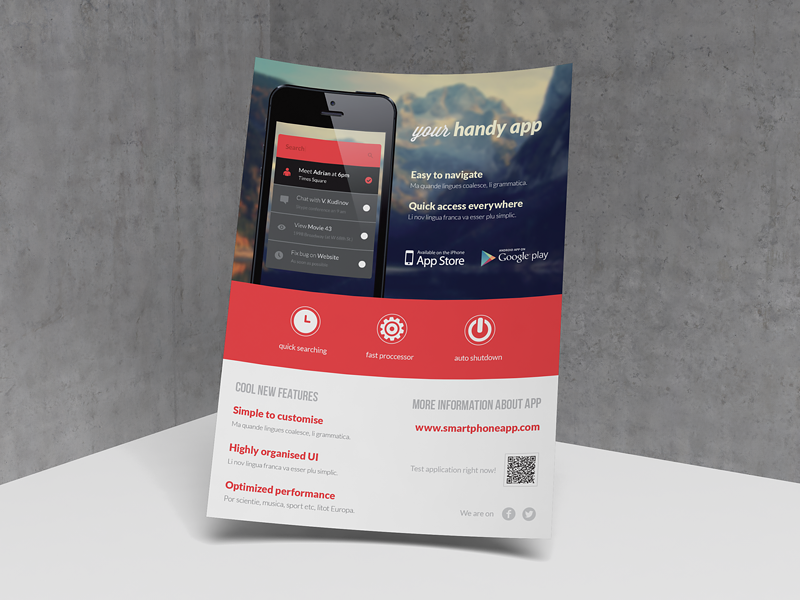 mobile application phone app flyer by rounded hexagon dribbble