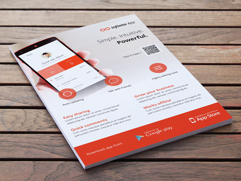 Mobile Application Phone App Flyer Ad Template By Rounded Hexagon - Photoshop ad templates