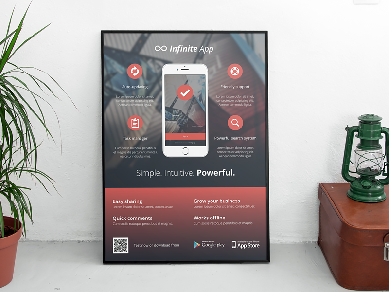 Mobile Application Phone App Flyer Ad Template By Rounded - Photoshop ad templates