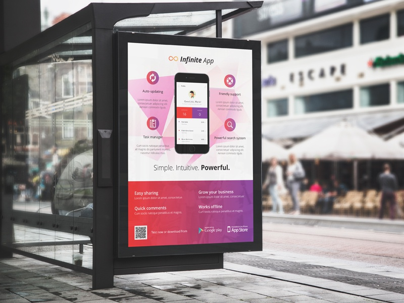 app poster    bus stop billboard by rounded hexagon