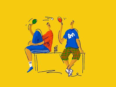 Table tennis funny illustration funny sport illustration sport ping pong pingpong table tennis book illustration branding 2d branding illustration line color illustration bright flat design