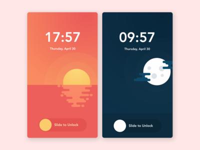 Custom Wallpaper & Lock Screen time simple lock screen flat illustration android ios