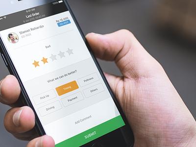GO-JEK's New Rating Driver Redesign driver rating uber gojek ios7 app iphone clean flat ios