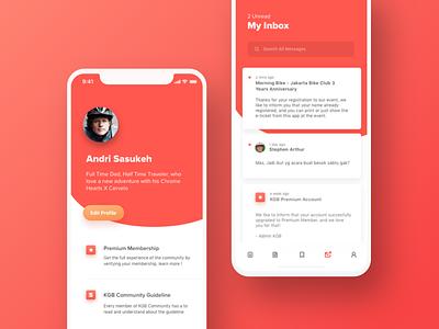 KGB Community Mobile App community flat iphonex ios11 ios bike