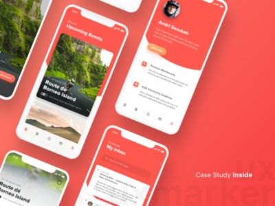 Bike Community App red profile bike flat ios iphonex