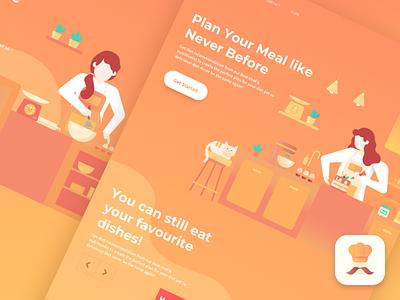 MoKitchen - Kitchen Web & App Concept mom design web ios flat freebies illustration kitchen