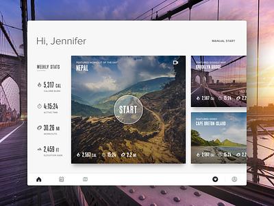 Cardio Dashboard dashboard workouts stats running google maps treadmill fitness