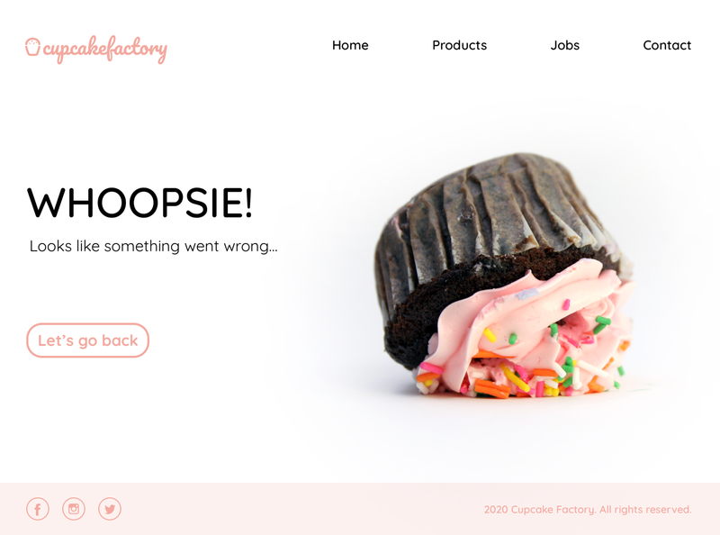 Daily UI 008 - 404 page cupcake whoops 404 error 404 page responsive design webdesign ui challenge design uidailychallenge daily ui daily ui challenge