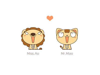Cat&Big Cat couples mr miss love lion cat
