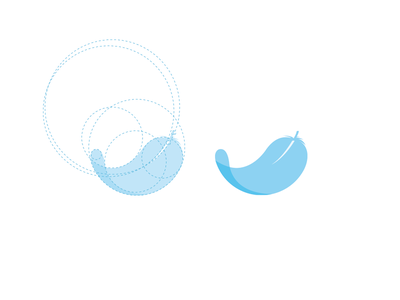 Feather line auxiliary blue logo icon feather