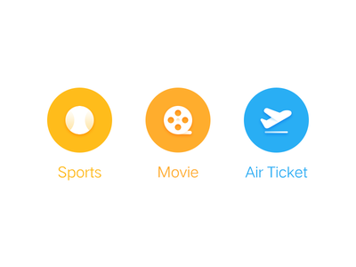 ICON-3 icon blue yellow ball plane ticket air movie sports