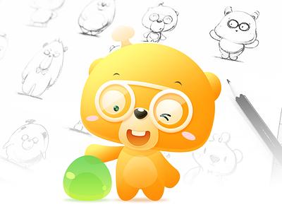 Candy Bear mascot sketch doctor lovely cartoon bear candy