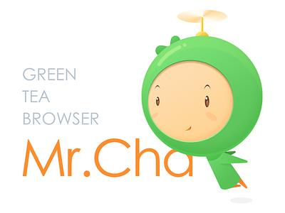 Mr.Cha boy green mascot cartoon fly world earth