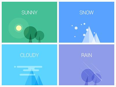WEATHER illustration rain cloudy snow sunny weather