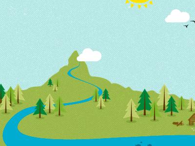 River Illustration illustration river trees wwf