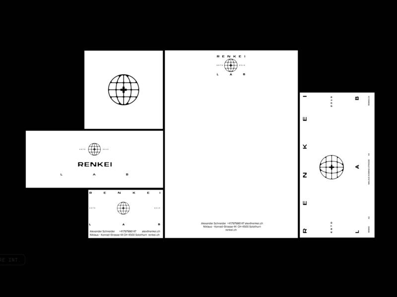Renkei Lab world logo pleuratbytyqi typography switzerland kosovo zyreinternational design icon bussines card envelope note stationery brand