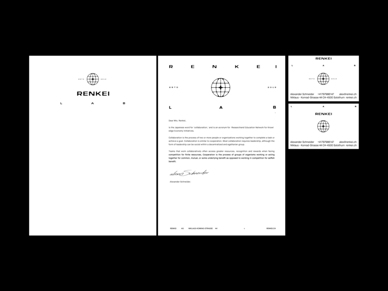 Renkei Lab icon switzerland kosovo bussiness card pleuratbytyqi zyreinternational letterhead stationery brand