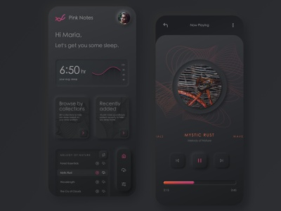 Pink Notes visual design music sleep app neumorphism design ux ui