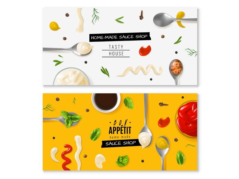 Vector mayo banners advertising cards poster ingredients sauce mayo mayonnaise horizontal banner design illustration vector